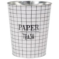 Papierkorb aus Metall mit Karomuster Trash