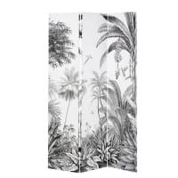 Paravent imprimé forêt tropicale noir et blanc Paradise