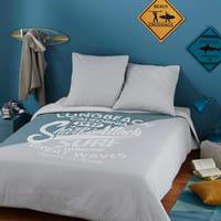 Parure da letto grigia e blu in cotone stampato 220x240cm Surfing