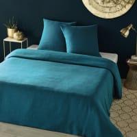 Parure da letto in lino lavato blu pavone, 240x260 cm