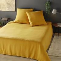 Parure da letto in lino lavato giallo senape, 220x240 cm