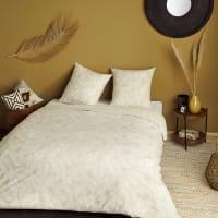 ABLAWA - Parure da letto stampata in cotone lavato ecru e beige 220cm x 240cm