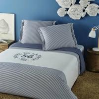 Parure de lit en coton blanc motif à rayures bleues 220x240 Ouessant
