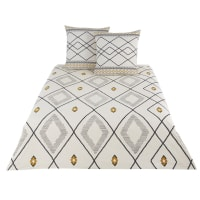 AMA - Parure de lit en coton écru, gris, noir et jaune moutarde imprimée 220x240