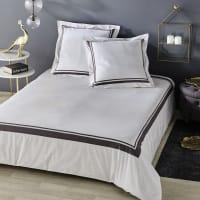 Parure de lit en coton écru imprimé gris anthracite 240x260 Elegance
