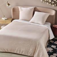 Parure de lit en coton rose imprimé fleuri 240x260 Hortense
