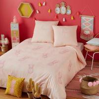Parure de lit en coton rose motifs ananas 140x200 Maya