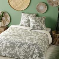 Parure de lit en coton vert kaki motif floral beige 220x240 Canopee
