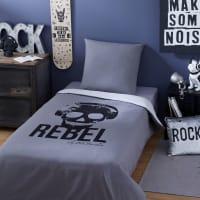 REBEL - Parure de lit enfant en coton gris anthracite imprimé noir 140x200