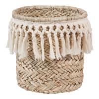 Pattumiera in fibra vegetale e cotone bianco Dentelle