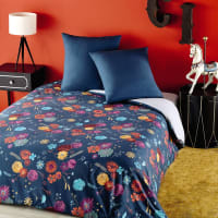 Petrol Blue Cotton Bedding Set with Multicoloured Floral Print 220x240 Zingaro