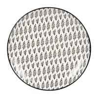 CLEMENCE - Lotto di 6 - Piatto da dessert in gres con motivi grafici bianchi e grigio antracite