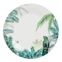 Piatto da dessert in porcellana con stampa tropicale Perroquet