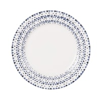 Piatto da dessert in porcellana motivi grafici blu Dory
