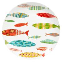 Piatto piano in porcellana con motivi di pesci Lagon