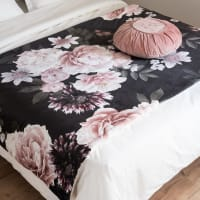 Pink and Black Cotton Boutis Quilt with Floral Print 100x200 Alba