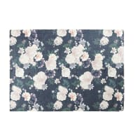 Pink and Black Rug with Floral Print 140x200 Alba