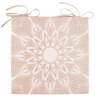 Pink Cotton Chair Pad with White Mandala Print Kriya
