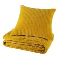 Piqué velvet cushion in mustard yellow 60 x 60cm