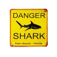 Placa de decoração de metal amarela Shark