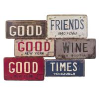 GOOD FRIENDS - Placa de metal com efeito envelhecido 69x49