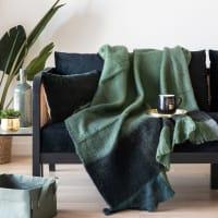 NOKOSI - Plaid a frange verde, blu, grigio e nero, 130x170 cm