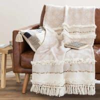 Plaid berbère en coton beige 160x210 Beaver