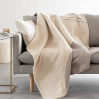MINIATO - Plaid cotone in tessuto jacquard grigio, forato ed écru 140x180 cm