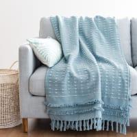 Plaid en coton bleu 160x210 Marissa