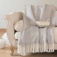 Plaid en coton gris motifs graphiques 180x240 Lugano