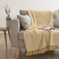 Plaid en coton jaune à franges 160x120 Germini