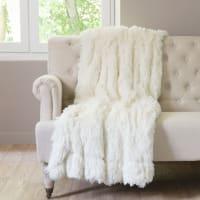Plaid en fausse fourrure blanc 130 x 170 cm Val Thorens