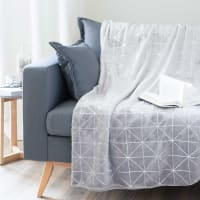 Plaid gris motifs graphiques argentés 150x230 Dowtown