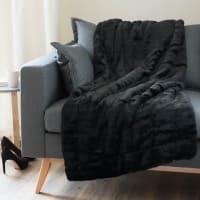 Plaid imitation fourrure noir 150x180 Soho