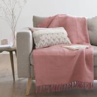 Plaid in cotone rosa a frange, 140x200 cm Capri