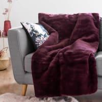 CORTINA - Plaid in pelliccia a maglia prugna, 150x180 cm