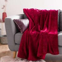 Plaid in pelliccia ecologica rosso ciliegia, 130x180 cm