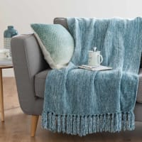 Plaid lavorato a maglia blu, 125x150 cm Ashley