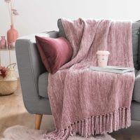 Plaid lavorato a maglia rosa, 125x150 cm Ashley