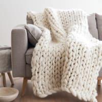 Plaid tricoté écru 130x170 Hygge