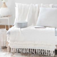Plaid van wit katoen met franjes 160x210 Marissa