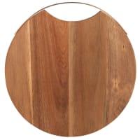 Planche à découper ronde en acacia et anse en métal cuivré