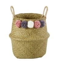 Plant Fibre Collapsible Basket with Pom Poms H 28 Bucolique