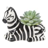 Planta suculenta artificial y maceta de rayas de cerámica Alt.11