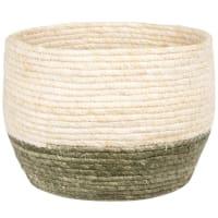 Planter in two-tone woven corn fibre H21cm