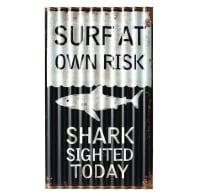 Plaque décorative en métal noir et blanc 33x55 Surfing