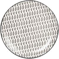 CLEMENCE - Set van 6 - Plat bord van gres met witte en antracietgrijze grafische motieven