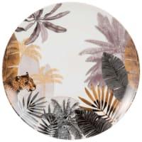 Plat bord van porselein met panterprint