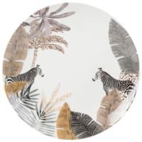 Plat bord van porselein met zebraprint