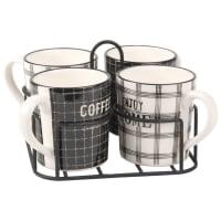 Plateau 4 mugs en faïence imprimée Food Market